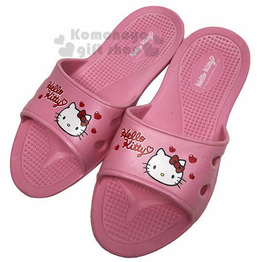 〔小禮堂〕Hello Kitty 極輕防滑塑膠拖鞋《淡粉.愛心》室內拖鞋.浴室拖鞋