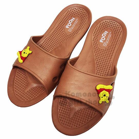 〔小禮堂〕迪士尼 小熊維尼 極輕防滑塑膠拖鞋《淡棕.大臉》室內拖鞋.浴室拖鞋