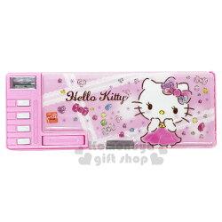 〔小禮堂〕Hello Kitty 雙面多功能按鍵鉛筆盒《粉.鑽石》筆袋.學童文具