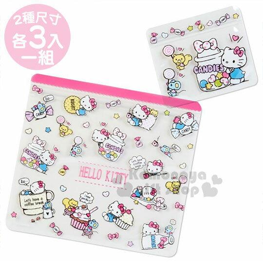 〔小禮堂〕Hello Kitty 透明方形夾鏈袋組《6入.粉.甜點》收納袋.密封袋.分類袋
