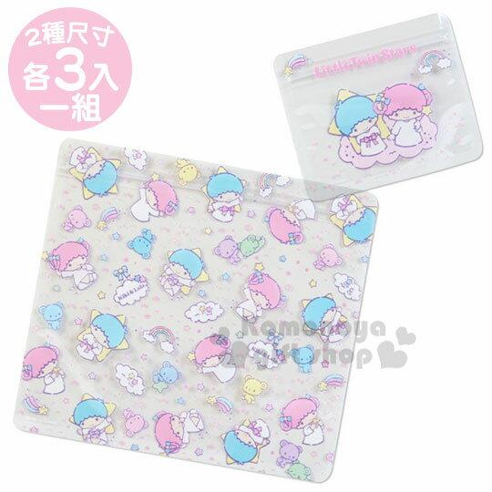 〔小禮堂〕雙子星 透明方形夾鏈袋組《6入.粉藍.彩虹》收納袋.密封袋.分類袋