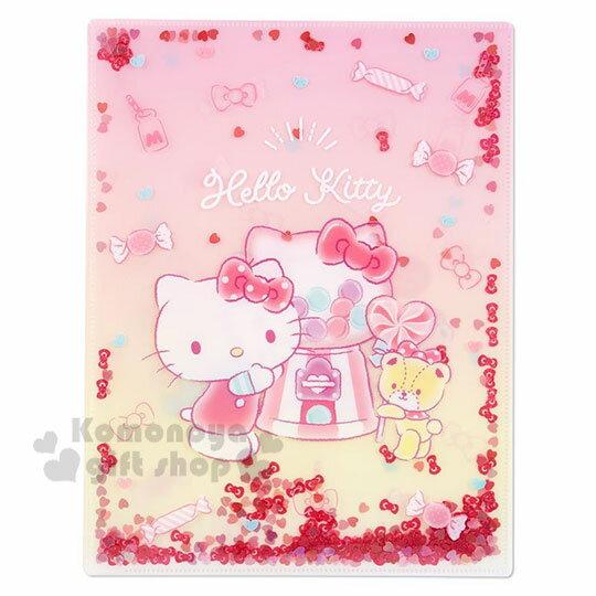 〔小禮堂〕Hello Kitty 雙開式文件夾《A4.粉黃.亮片流沙》資料夾.L夾.檔案夾