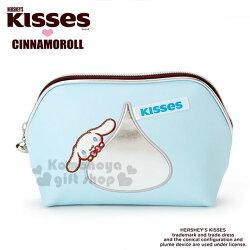 〔小禮堂〕大耳狗 Hershey's KISSES 皮質半圓化妝包《藍》收納包.筆袋