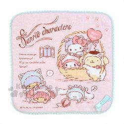 〔小禮堂〕Sanrio大集合 棉質圓角小方巾《粉》25x25cm.手帕.毛巾.變裝貓咪系列