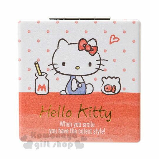 〔小禮堂〕Hello Kitty 皮質方形隨身雙面鏡《紅白.牛奶瓶》放大鏡.折鏡.鏡子