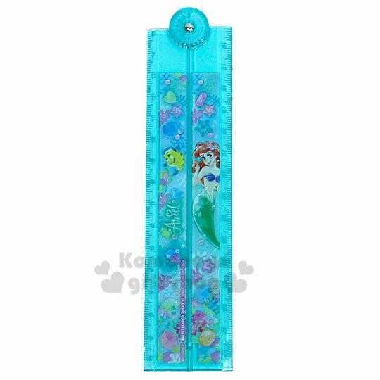 〔小禮堂〕迪士尼 小美人魚 日製塑膠角度折疊尺《綠.鑽石》30cm.量角器.直尺