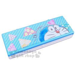 〔小禮堂〕哆啦A夢 硬式塑膠掀蓋鉛筆盒《藍.半臉》筆袋.收納盒