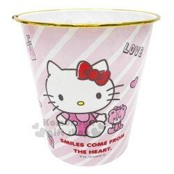 〔小禮堂〕Hello Kitty 圓形無蓋垃圾桶《粉.抱小熊》書報桶.收納桶.置物桶