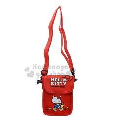 〔小禮堂〕Hello Kitty 潛水布直式斜背手機包《紅.騎腳踏車》斜背包.側背包