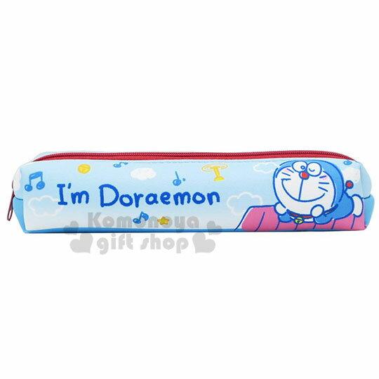 〔小禮堂〕哆啦A夢 潛水布拉鍊細筆袋《藍.趴屋頂》收納包.鉛筆盒