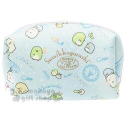 〔小禮堂〕角落生物 潛水布方形化妝包《綠.派對旗》收納包.萬用包.筆袋