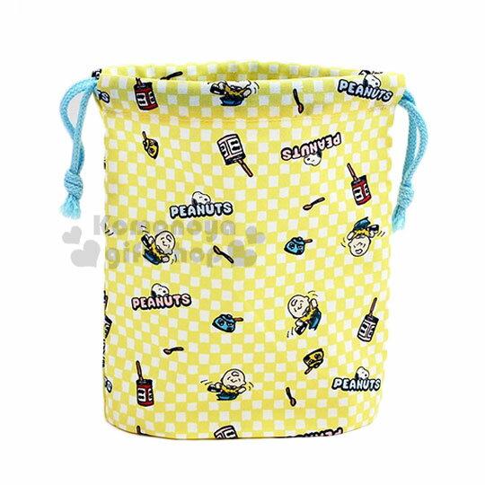 【領券折$30】小禮堂 史努比 日製棉質束口袋《黃.吃飯》20x18cm.縮口袋.收納袋
