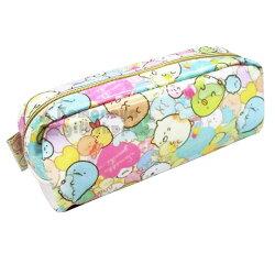 〔小禮堂〕角落生物 防水拉鍊筆袋《粉綠.滿版》收納袋.化妝包.鉛筆盒