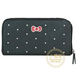 〔小禮堂〕Hello Kitty 皮質水鑽拉鍊長夾《黑.蝴蝶結》錢包.皮夾.手拿包