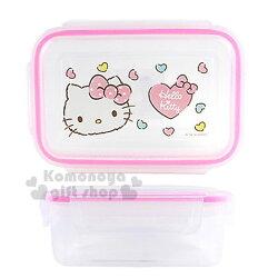 〔小禮堂〕Hello Kitty 方形四面扣透明保鮮盒《粉邊.大臉》480ml.餐盒.便當盒