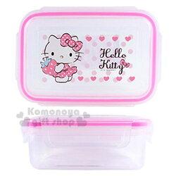 〔小禮堂〕Hello Kitty 方形四面扣透明保鮮盒《粉邊.草莓》480ml.餐盒.便當盒