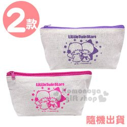 〔小禮堂〕雙子星 帆布船形拉鍊筆袋《2款隨機.紫/粉》鉛筆盒.化妝包.收納包.銅板小物