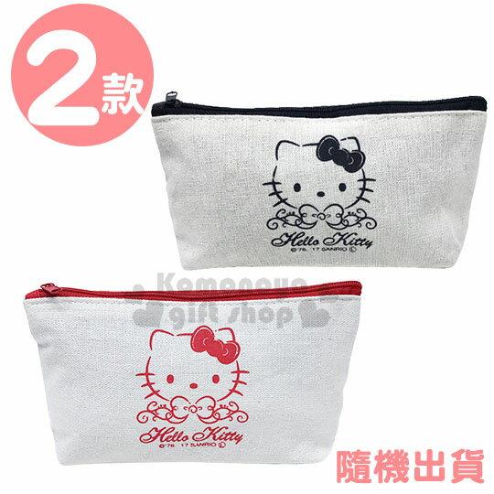 〔小禮堂〕Hello Kitty 帆布船形拉鍊筆袋《2款隨機.紅/黑》鉛筆盒.化妝包.收納包.銅板小物