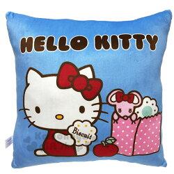 〔小禮堂〕Hello Kitty 方形絨毛抱枕《藍.拿餅乾》靠墊.靠枕.午安枕