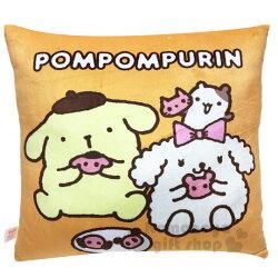 〔小禮堂〕布丁狗 方形絨毛抱枕《黃.吃餅乾》靠墊.靠枕.午安枕