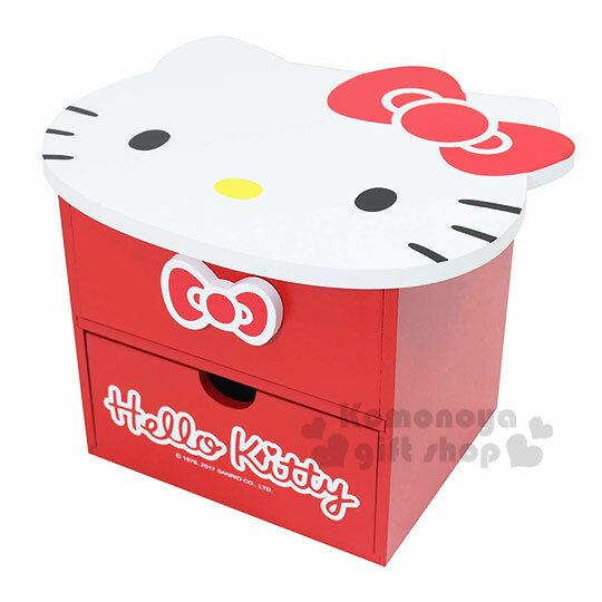 〔小禮堂〕Hello Kitty 造型木製雙抽收納盒附鏡《紅.大臉》抽屜盒.化妝鏡台 0