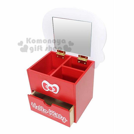 〔小禮堂〕Hello Kitty 造型木製雙抽收納盒附鏡《紅.大臉》抽屜盒.化妝鏡台 1