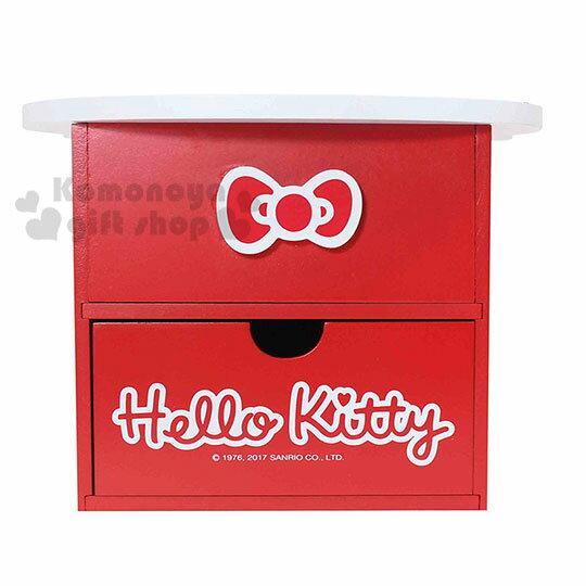 〔小禮堂〕Hello Kitty 造型木製雙抽收納盒附鏡《紅.大臉》抽屜盒.化妝鏡台 2
