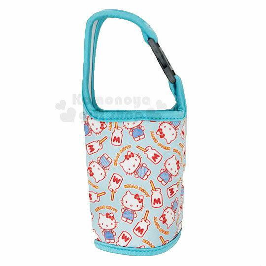 〔小禮堂〕Hello Kitty 潛水布飲料杯套《綠.滿版》手搖杯套.環保杯套.水壺袋