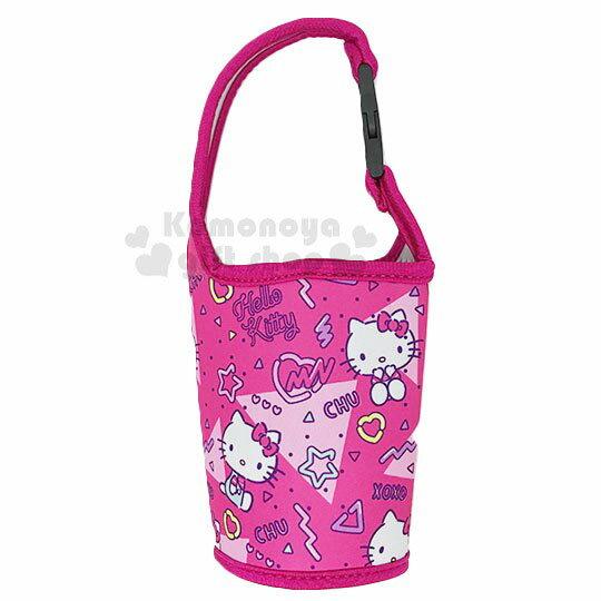 〔小禮堂〕Hello Kitty 潛水布飲料杯套《桃.滿版》手搖杯套.環保杯套.水壺袋