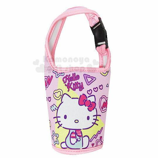 〔小禮堂〕Hello Kitty 潛水布飲料杯套《粉.側坐》手搖杯套.環保杯套.水壺袋
