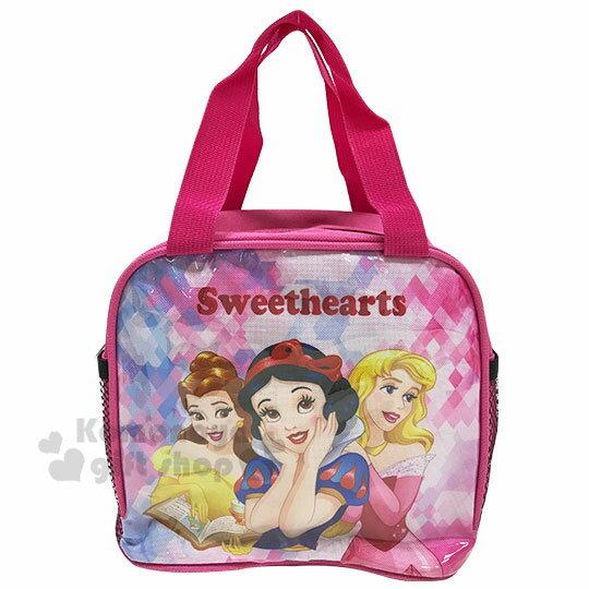 〔小禮堂〕迪士尼 公主 方形尼龍手提便當袋《粉.大臉》手提袋.野餐袋.外出袋