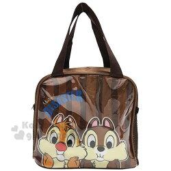 〔小禮堂〕迪士尼 奇奇蒂蒂 方形尼龍手提便當袋《棕.大臉》手提袋.野餐袋.外出袋