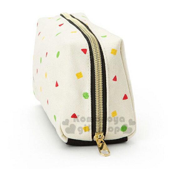 〔小禮堂〕Hello Kitty x 蠟筆小新 帆布方形化妝包《米.睡衣》收納包.筆袋 1