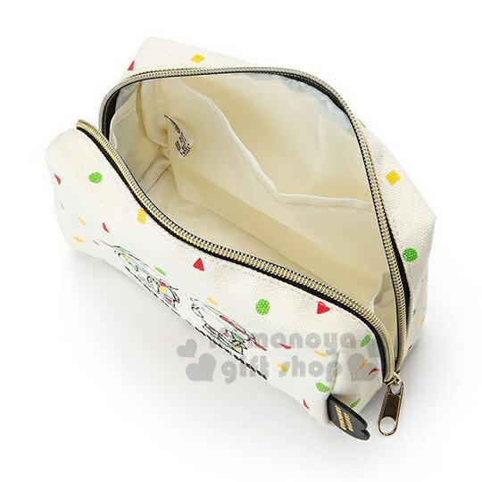 〔小禮堂〕Hello Kitty x 蠟筆小新 帆布方形化妝包《米.睡衣》收納包.筆袋 3