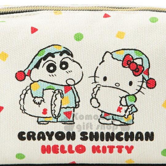 〔小禮堂〕Hello Kitty x 蠟筆小新 帆布方形化妝包《米.睡衣》收納包.筆袋 4
