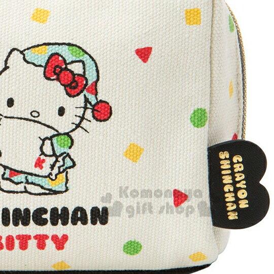 〔小禮堂〕Hello Kitty x 蠟筆小新 帆布方形化妝包《米.睡衣》收納包.筆袋 5