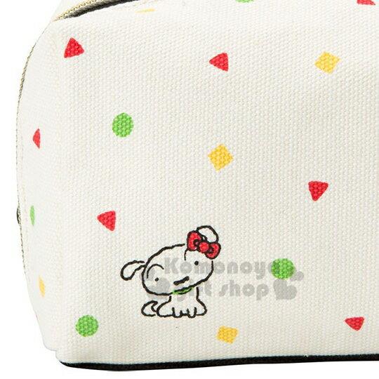 〔小禮堂〕Hello Kitty x 蠟筆小新 帆布方形化妝包《米.睡衣》收納包.筆袋 6
