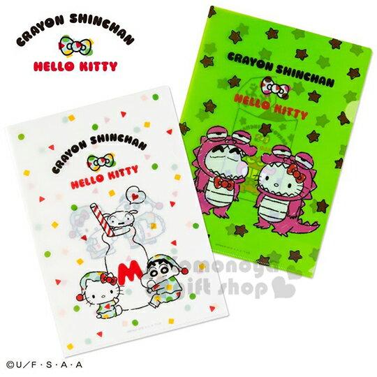 〔小禮堂〕Hello Kitty x 蠟筆小新 日製L型文件夾《A4.綠白》資料夾.L夾.檔案夾