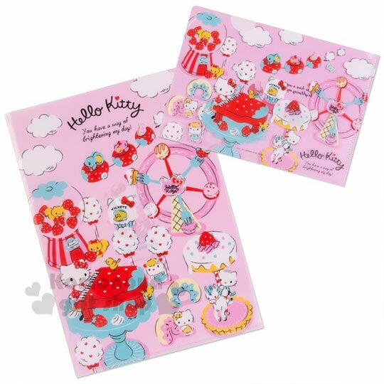 〔小禮堂〕Hello Kitty 日製L型文件夾組《2入.紅粉》資料夾.L夾.檔案夾.莓好時光系列