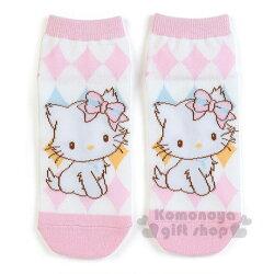 〔小禮堂〕Charmmy Kitty 恰咪 成人及踝襪《粉白.菱格》23-25公分.棉襪.短襪.隱形襪