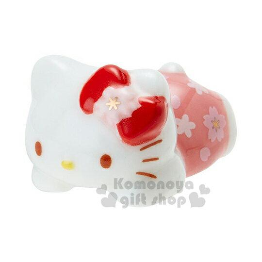 〔小禮堂〕Hello Kitty 趴姿 陶瓷筷架《粉》筆架.紙鎮.春日和櫻系列