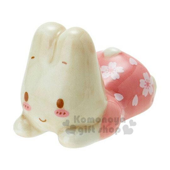 〔小禮堂〕兔媽媽 趴姿 陶瓷筷架《粉》筆架.紙鎮.春日和櫻系列