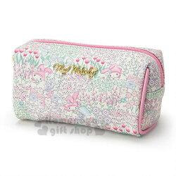 〔小禮堂〕美樂蒂 皮質三角拉鍊化妝包《粉綠.花園》收納包.筆袋