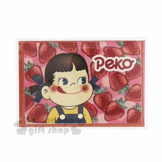 小禮堂 不二家PEKO 日製迷你卡片信封組《紅粉.草莓》留言卡.賀卡.小卡片