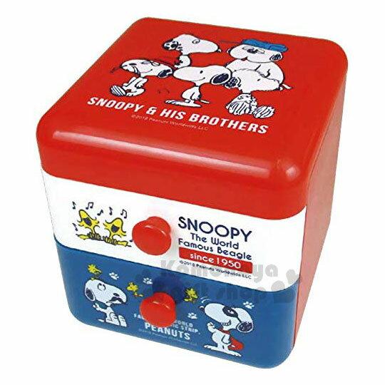 〔小禮堂〕史努比 桌上型塑膠雙抽收納盒《紅白.朋友》置物盒.抽屜盒.飾品盒