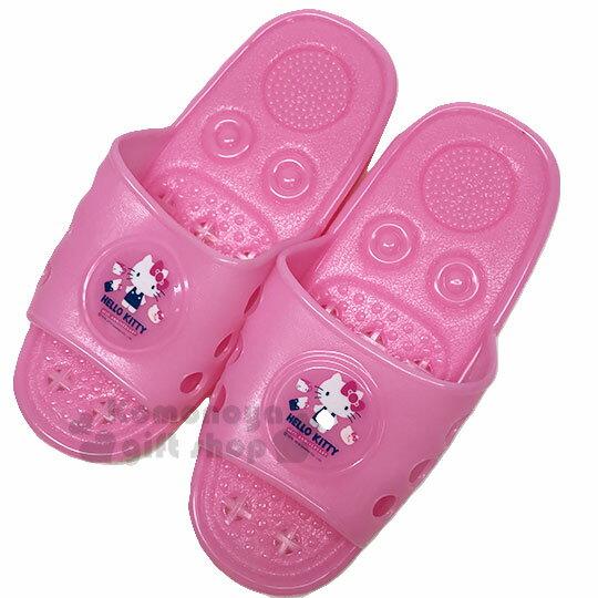 〔小禮堂〕Hello Kitty 矽膠簍空浴室拖鞋《亮粉.物品》陽台拖.室內拖