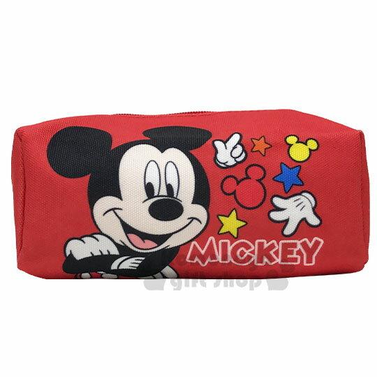 〔小禮堂〕迪士尼 米奇 厚帆布拉鍊化妝包《紅.站姿》萬用包.收納包.筆袋