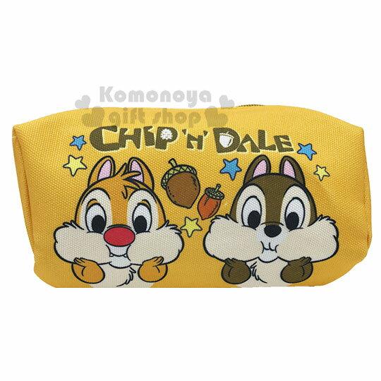 〔小禮堂〕迪士尼 奇奇蒂蒂 厚帆布拉鍊化妝包《橘.大臉》萬用包.收納包.筆袋