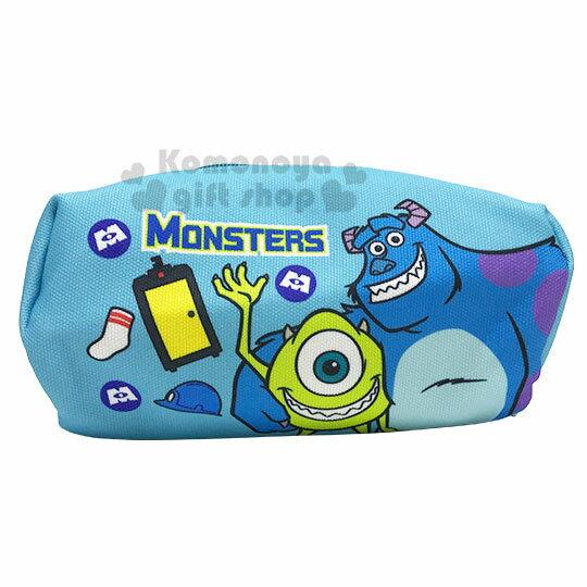 〔小禮堂〕迪士尼 怪獸大學 厚帆布拉鍊化妝包《藍綠.搭肩》萬用包.收納包.筆袋