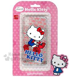 〔小禮堂〕Hello Kitty iPhone X/XS 全包式透明塑膠空壓手機殼《紅藍.腳踏車》軟殼.保護殼